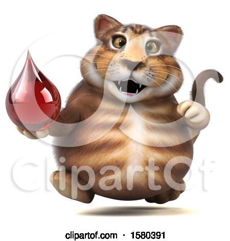 Clipart of a 3d Tabby Kitty Cat Holding a Blood Drop, on a White Background - Royalty Free Illustration by Julos
