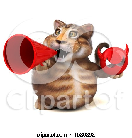 Clipart of a 3d Tabby Kitty Cat Holding a Devil, on a White Background - Royalty Free Illustration by Julos