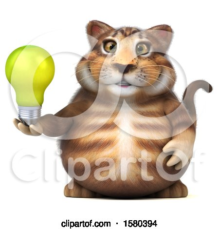 Clipart of a 3d Tabby Kitty Cat Holding a Light Bulb, on a White Background - Royalty Free Illustration by Julos