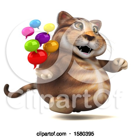 Clipart of a 3d Tabby Kitty Cat Holding Messages, on a White Background - Royalty Free Illustration by Julos