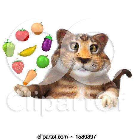 Clipart of a 3d Tabby Kitty Cat Holding Produce, on a White Background - Royalty Free Illustration by Julos