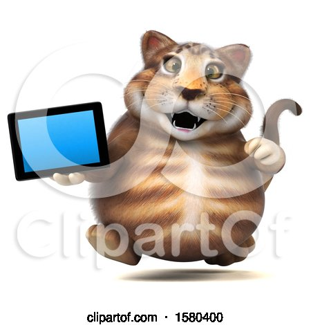 Clipart of a 3d Tabby Kitty Cat Holding a Tablet, on a White Background - Royalty Free Illustration by Julos
