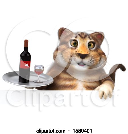 Clipart of a 3d Tabby Kitty Cat Holding Wine, on a White Background - Royalty Free Illustration by Julos