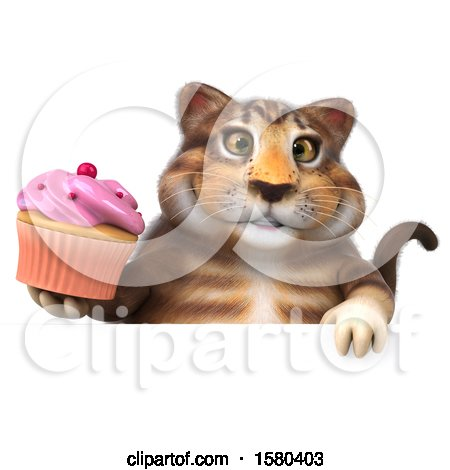 Clipart of a 3d Tabby Kitty Cat Holding a Cupcake, on a White Background - Royalty Free Illustration by Julos
