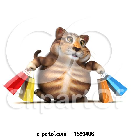 Clipart of a 3d Tabby Kitty Cat Carrying Shopping Bags, on a White Background - Royalty Free Illustration by Julos