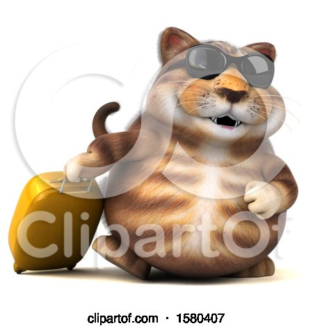 Clipart of a 3d Tabby Kitty Cat Traveler, on a White Background - Royalty Free Illustration by Julos