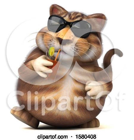 Clipart of a 3d Tabby Kitty Cat Drinking a Beverage, on a White Background - Royalty Free Illustration by Julos