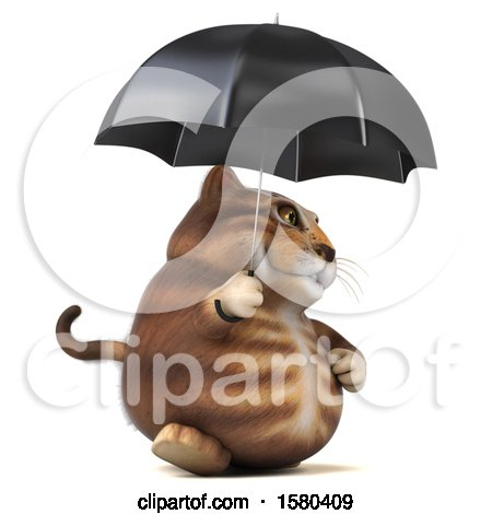 Clipart of a 3d Tabby Kitty Cat Holding an Umbrella, on a White Background - Royalty Free Illustration by Julos