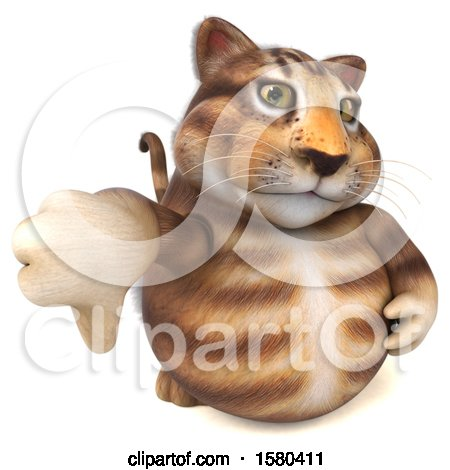Clipart of a 3d Tabby Kitty Cat Holding a Thumb Down, on a White Background - Royalty Free Illustration by Julos