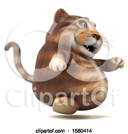 Clipart of a 3d Tabby Kitty Cat Running, on a White Background - Royalty Free Illustration by Julos