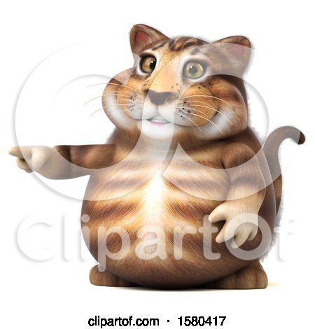 Clipart of a 3d Tabby Kitty Cat Pointing, on a White Background - Royalty Free Illustration by Julos