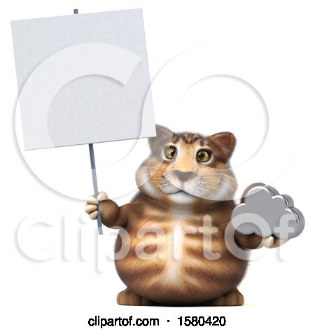 Clipart of a 3d Tabby Kitty Cat Holding a Cloud, on a White Background - Royalty Free Illustration by Julos