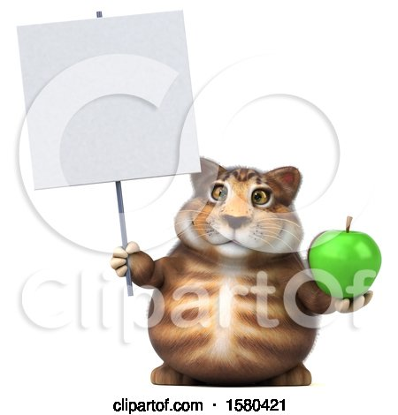 Clipart of a 3d Tabby Kitty Cat Holding an Apple, on a White Background - Royalty Free Illustration by Julos