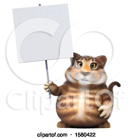 Clipart of a 3d Tabby Kitty Cat Holding a Sign, on a White Background - Royalty Free Illustration by Julos