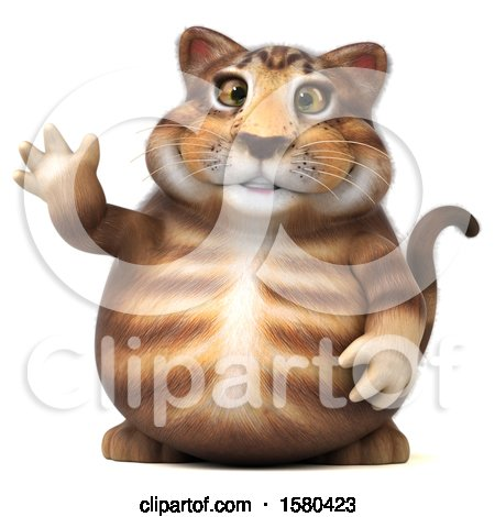 Clipart of a 3d Tabby Kitty Cat Waving, on a White Background - Royalty Free Illustration by Julos
