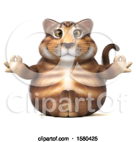 Clipart of a 3d Tabby Kitty Cat Holding Meditating, on a White Background - Royalty Free Illustration by Julos