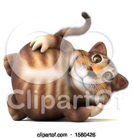 Clipart of a 3d Tabby Kitty Cat Resting, on a White Background - Royalty Free Illustration by Julos