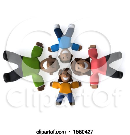 Clipart of a 3d Happy Black Family Laying in a Circle, on a White Background - Royalty Free Illustration by Julos