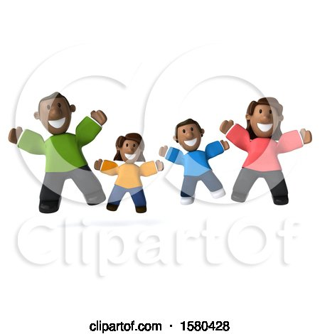 Clipart of a 3d Happy Black Family Jumping, on a White Background - Royalty Free Illustration by Julos
