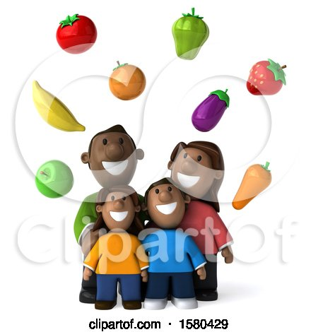 Clipart of a 3d Happy Black Family with Healthy Produce, on a White Background - Royalty Free Illustration by Julos