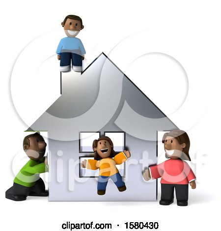 Clipart of a 3d Happy Black Family and Their Home, on a White Background - Royalty Free Illustration by Julos
