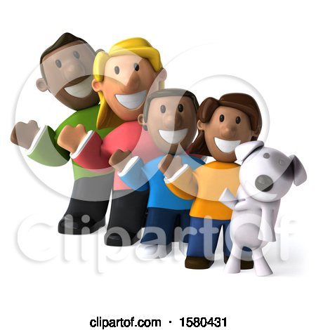 Clipart of a 3d Happy Black Family and Dog, on a White Background - Royalty Free Illustration by Julos