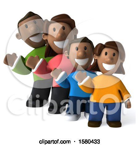 Clipart of a 3d Happy Black Family Waving, on a White Background - Royalty Free Illustration by Julos