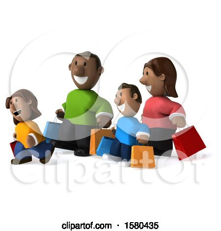 Clipart of a 3d Happy Black Family Shopping, on a White Background - Royalty Free Illustration by Julos