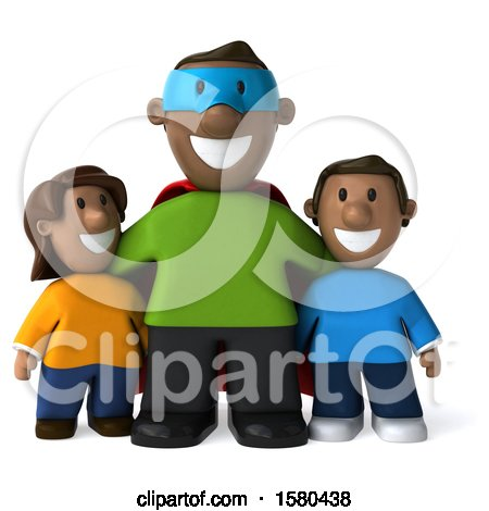 Clipart of a 3d Black Super Dad and Kids, on a White Background - Royalty Free Illustration by Julos
