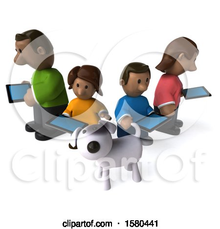 Clipart of a 3d Happy Black Family and Dog with Tablets, on a White Background - Royalty Free Illustration by Julos