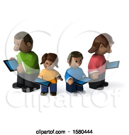 Clipart of a 3d Happy Black Family with Tablets, on a White Background - Royalty Free Illustration by Julos