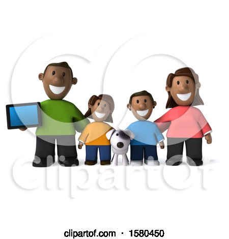 Clipart of a 3d Happy Black Family and Dog with a Tablet, on a White Background - Royalty Free Illustration by Julos