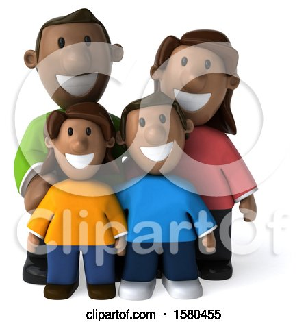 Clipart of a 3d Happy Black Family, on a White Background - Royalty Free Illustration by Julos