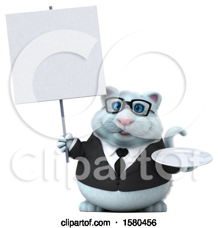 Clipart of a 3d White Business Kitty Cat Holding a Plate, on a White Background - Royalty Free Illustration by Julos