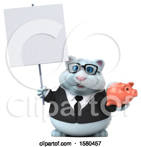 Clipart of a 3d White Business Kitty Cat Holding a Piggy Bank, on a White Background - Royalty Free Illustration by Julos