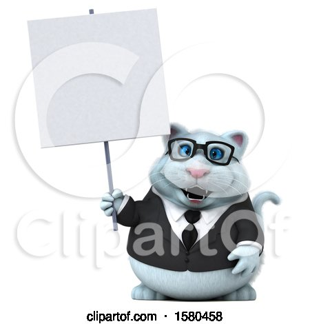 Clipart of a 3d White Business Kitty Cat Holding a Blank Sign, on a White Background - Royalty Free Illustration by Julos