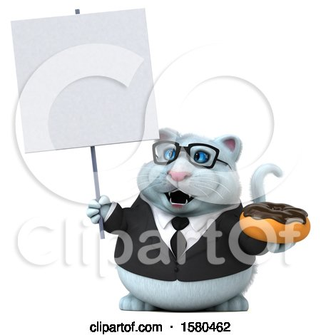 Clipart of a 3d White Business Kitty Cat Holding a Donut, on a White Background - Royalty Free Illustration by Julos