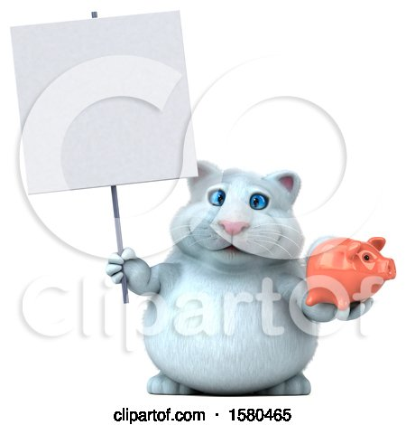 Clipart of a 3d White Kitty Cat Holding a Piggy Bank, on a White Background - Royalty Free Illustration by Julos