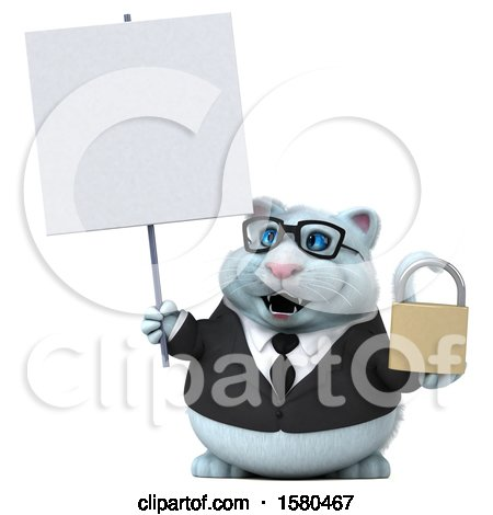 Clipart of a 3d White Business Kitty Cat Holding a Padlock, on a White Background - Royalty Free Illustration by Julos
