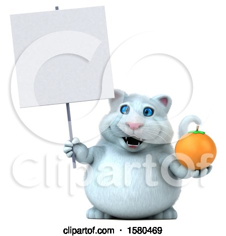 Clipart of a 3d White Kitty Cat Holding an Orange, on a White Background - Royalty Free Illustration by Julos
