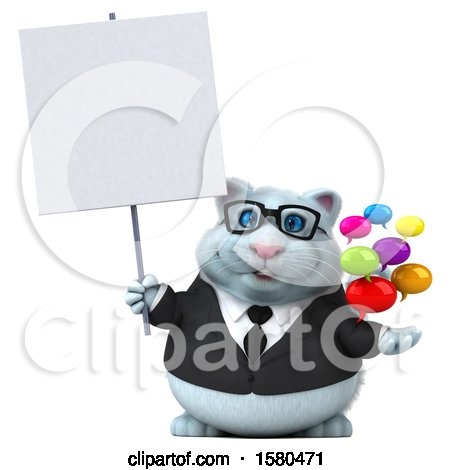 Clipart of a 3d White Business Kitty Cat Holding Messages, on a White Background - Royalty Free Illustration by Julos