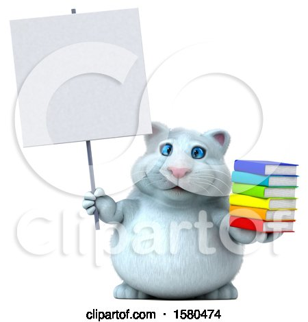 Clipart of a 3d White Kitty Cat Holding Books, on a White Background - Royalty Free Illustration by Julos