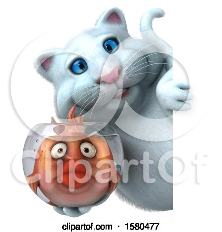 Clipart of a 3d White Kitty Cat Holding a Fish in a Bowl, on a White Background - Royalty Free Illustration by Julos