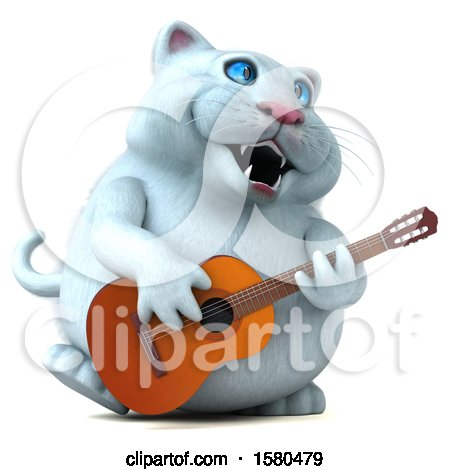 Clipart of a 3d White Kitty Cat Playing a Guitar, on a White Background - Royalty Free Illustration by Julos
