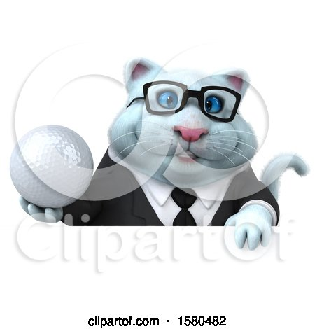 Clipart of a 3d White Business Kitty Cat Holding a Golf Ball, on a White Background - Royalty Free Illustration by Julos