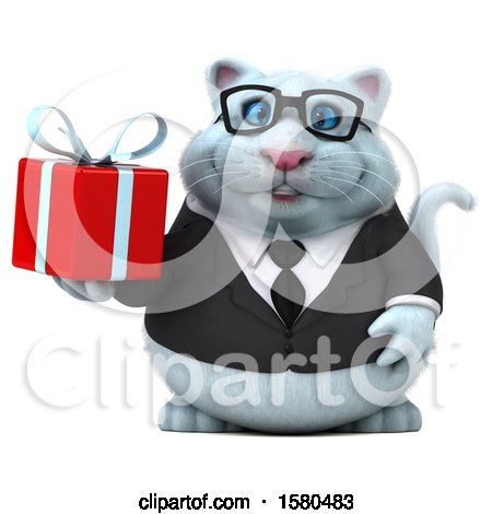 Clipart of a 3d White Business Kitty Cat Holding a Gift, on a White Background - Royalty Free Illustration by Julos