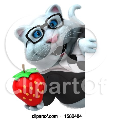 Clipart of a 3d White Business Kitty Cat Holding a Strawberry, on a White Background - Royalty Free Illustration by Julos