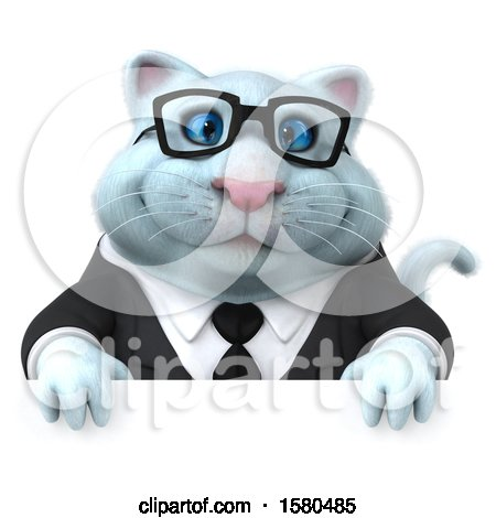 Clipart of a 3d White Business Kitty Cat over a Sign, on a White Background - Royalty Free Illustration by Julos