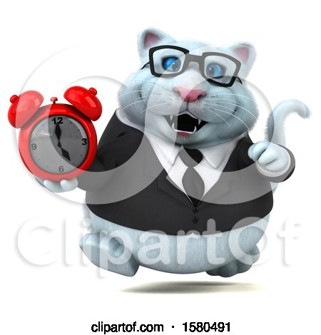 Clipart of a 3d White Business Kitty Cat Holding an Alarm Clock, on a White Background - Royalty Free Illustration by Julos