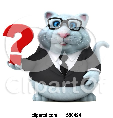 Clipart of a 3d White Business Kitty Cat Holding a Question Mark, on a White Background - Royalty Free Illustration by Julos